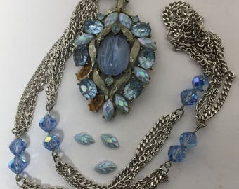 Vintage Blue Cabochon and Rhinestone Pendant Necklace Silver Tone
