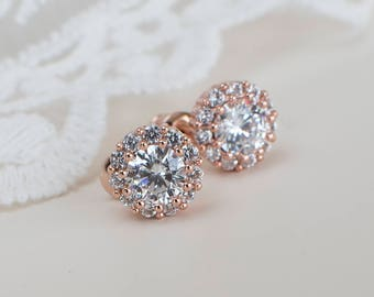 Rose Gold Cubic Zirconia Stud Bridal Earrings, Cubic Zirconia Stud Earrings, Bridal Rose Gold Cubic Zirconia Stud Earrings,CZ Bridal Jewelry