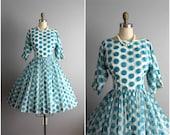 50's Chiffon Dress // Vintage 1950's Polka Dot Print Aqua Chiffon Full Garden Party Cocktail Prom Wedding Dress AS IS S M