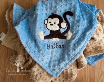 Personalized baby gifts monkey minky baby blanket baby girl personalized baby gifts monkey minky baby blanket baby girl gift baby girl blanket negle Images