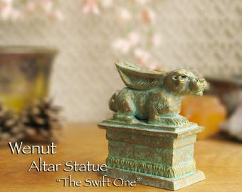 "Wenut Altar Statue - ""The Swift One"" - Reclining Hare on Plinth Base -Ancient Egyptian Symbol of Fertility and Renewal - Brass Patina Finish"