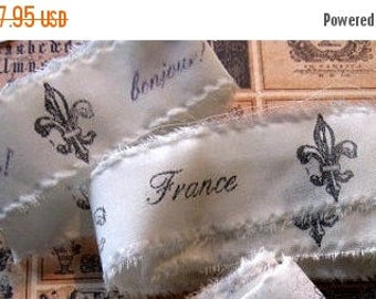 Hand Stamped Fabric Trim - Scrapbooking - French inspired - Wedding - Gift Decor