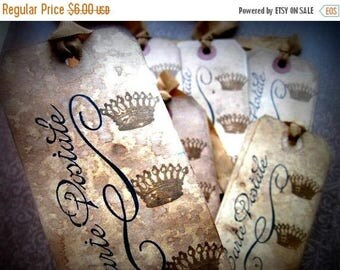 Cottage Chic French Inspired Hang Tags - Crowns Carte Postale - set of 6 - Black Sepia
