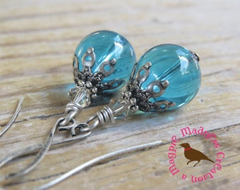 Aqua Translucent Glass Drop Earrings,  Clear Glass, Blue Glass, Aqua Blue Glass, Dangle,  Light Teal Earrings, by Magpie Madness for Etsy