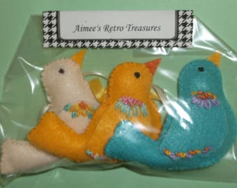 Hand Crafted Felt Embroidered Bird Ornaments - Vanilla Yellow Blue