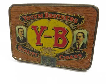 Yokum Brothers Cigar Tin, Pocket Size, Hinged Lid, Father's Day
