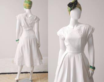 1950s Cotton Piqué Dress / White Dress / 50s