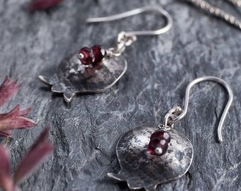 Pomegranate Earrings in Sterling Silver, Bat Mitzvah Gift, Gift For teens Gift For Women, Girls, Silver Dangle Earrings, Garnet Earrings
