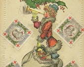 Elegant Lady Dressed in Santa Claus Suit With Sack of Toys Antique Christmas Postcard – Loads of 1912 Red Cross Christmas Stamps
