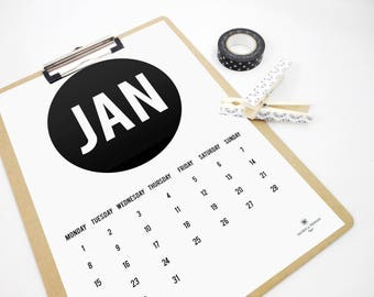 Monthly Printable Calendar 2018 Circle and Letters, Monthly Calendar, 2018 Planner, Organizer, Hipster, Wall Calendar, Minimal Planner, PDF