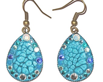 Caribbean blue crystal strass cabochon earrings