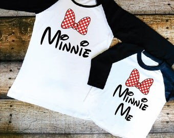 Mommy & Daughter Matching Minnie Mouse Bow Raglans Toddler Youth Girls and Adult Mom Black Sleeve Baseball Disney Matching Family Shirts