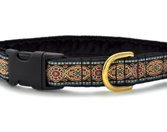 "Ready-to-Ship: Crown Jewels Jacquard - 1"" Buckle Collar - LARGE - Brass Hardware"
