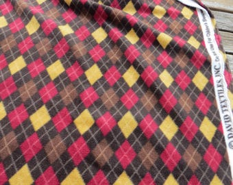 "Argyle Fleece Fabric by David Textiles Brown Yellow Red 32"" Long x 62"" Wide Soft Fleece Fabric Browns and Yelow Geometric or Argyle"