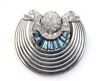 Montana Sapphire and Clear Rhinestone Rhodium-Plated Dress or Fur Clip