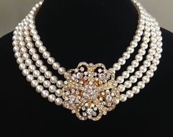 Pearl Wedding Necklace with Gold Brooch or Silver broach in 4 multi strands Swarovski Pearls mother of the bride bridal wedding jewelry sets