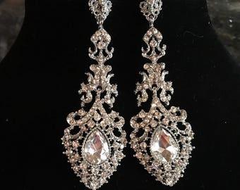 Long Wedding Earrings silver and clear rhinestone formal earrings bridal earrings elegant chandelier earrings mother of the bride