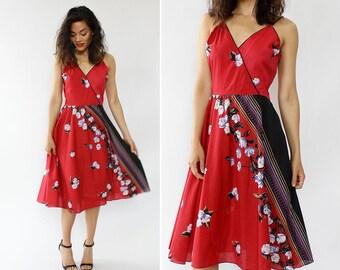 Red Tropical Dress S/M • 70s Dress • Vintage Red Dress • Fit and Flare Dress • Red Floral Dress • Halter Dress • Vintage Dress | D1293