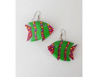 Tropical Fish Earrings • Vintage Earrings • Fish Dangle Earrings • Painted Wood Earrings • Vintage Dangle Earrings • Summer Earrings | E194