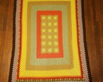 Vintage multicolored Afghan throw blanket