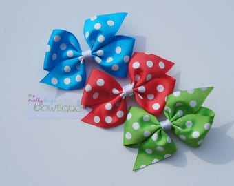 "Tropical Trio of 4"" Polka Dot Simple Boutique Bows"