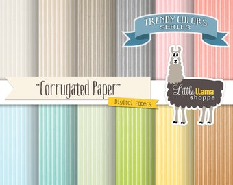 Colored Cardboard Digital Paper Pack, Corrugated Subtle Textures Scrapbook Paper, INSTANT DOWNLOAD, 8.5 x 11 and 12 x 12