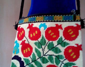 Uzbek silk hand embroidered bag Pomegranates. Cross stitch embroidery B015