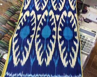 Uzbek traditional blue cotton woven ikat fabric by meter. Tribal, ethnic, boho fabric