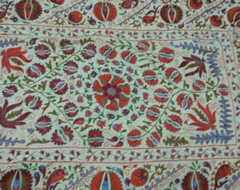 Uzbek hand embroidered suzani. Wall hanging, bed cover, table cover suzani