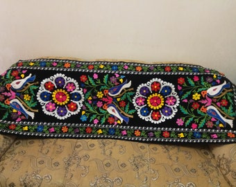 Uzbek silk embroidery on black velour suzani. Wall hanging, table runner, home decor suzani. SW021