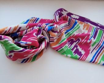 Pure silk ikat scarf. Vintage pure crepe silk scarf. SCM011