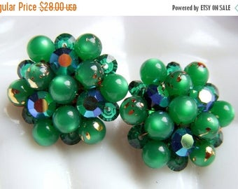 ANNIVERSARY SALE Green Moonglow Earrings with Aurora Borealis Beads