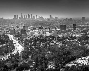 Los Angeles,California,LA Print,Canvas Wall Art,Black,White,Black and White Wall Art,Office Decor,Living Room Decor,Downtown LA Skyline