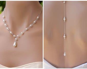 Pearl Back Drop Necklace, Swarovski Pearl Bridal Necklace, Y Necklace & Back Drop - Option,  Bridesmaid Jewelry, VANESSA