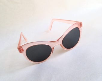1940s 50s Peach plastic sunglasses/ 1950s 40s transparent glass lens eyeglasses