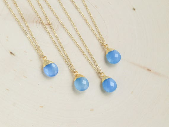 Blue Opal Necklace   Dainty Opal Necklace   Christmas gift   Wedding Jewelry   Bridesmaids Gift   Gift for Her   Black Friday