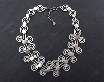 Artisan Hammered Spiral Scroll Silver Statement Necklace - Authentic Turkish Style