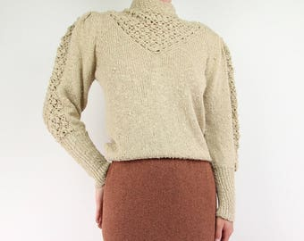 VINTAGE Open Knit Top Nubby Sweater 1980s