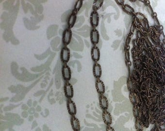 SALE Vintage Retro Style Delicate Antique brass crinkled texture 3x5mm footage  chain