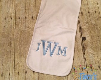 Infant Plain Burp Cloth with Three Initials