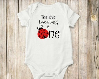 ON SALE Love Bug, Is One, onesie, bodysuit, shirt, clothing, ladybug, children, baby
