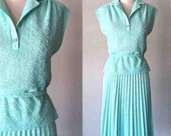 Vintage 1970's two piece set MINTY MARTY Gutmacher top and skirt - M