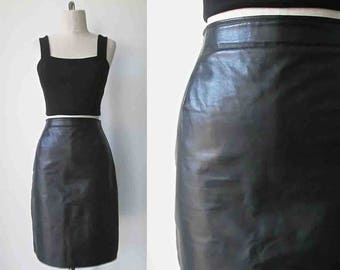 Vintage 1990's BLACK LEATHER skirt high waisted pencil style - S