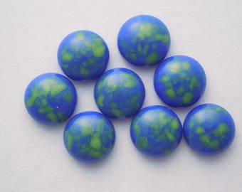 Blue And Green Beads - Fused Glass Beads - Lampwork Beads - Fused Glass - Jewelry Findings - Small Beads - Cabochon - Cab  4128