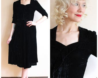 1930s Dress // Black Widow Velvet Dress // vintage 30s dress