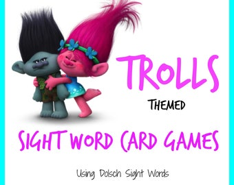 Trolls Themed Sight Word Card Games - Dolch Sight Words