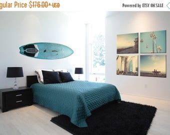 FLASH SALE til MIDNIGHT Surf Beach Decor Set of 4 Canvas prints, beach photos,  turquoise, sunset, retro, vintage surf home decor, beach wal