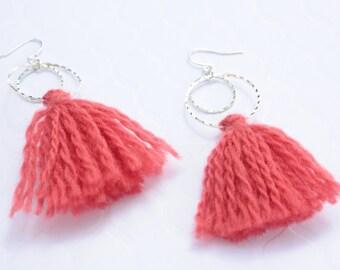 Orange Wooly Tassel Earrings, Handmade Tassels, Ready to Ship