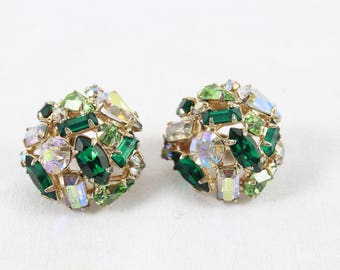 Emerald Green Rhinestone Earrings Vintage Vogue Clip On Christmas Earrings Emerald Peridot Clear Prong Set Party Birthday C120