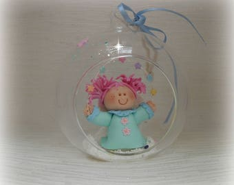ANGEL in Glass Bauble, Glitter & Sparkly Collectable, Boxed